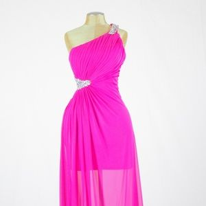 Fuchsia color, One shoulder Long Gown